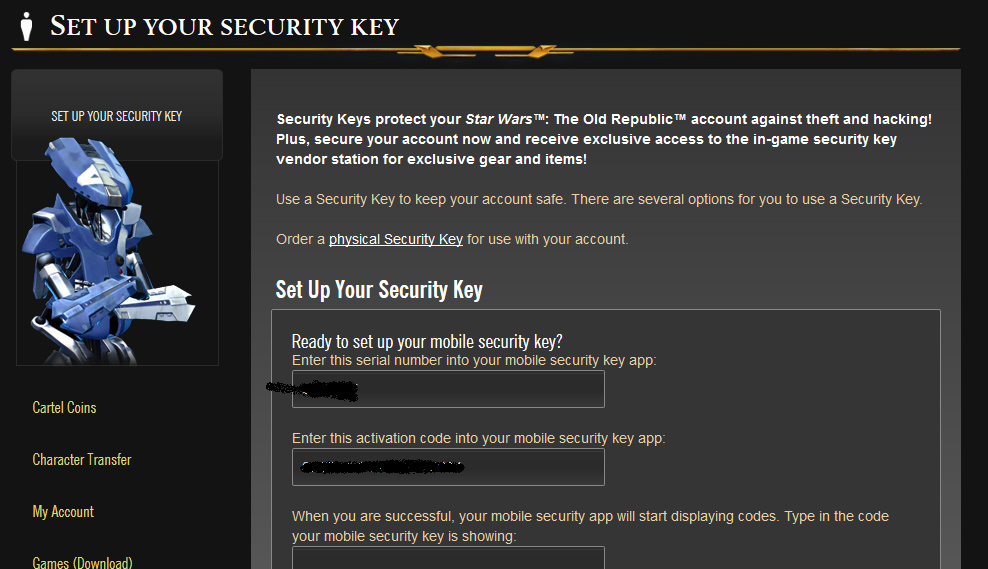 SWTOR Security Key Setup